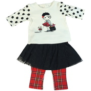 skirt set with cute French Girl print