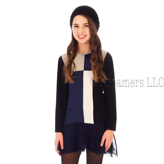 Sweet colorblock tunic dress in shades of navy blue, black and cream with a feminine chiffon hem.  Available in sizes 7, 8, 10, 12 and 14 by Limeapple