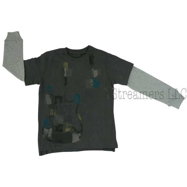 Awesome Boys Shirt in Charcoal Grey that Looks Like Two Shirts but is a Tee with Grey Ribbed Sleeves.  Shirt has a Colorful Guitar Screen.  Really Cool!  Available in Sizes 7, 8, 10 and 12.  American Vintage by E-Land
