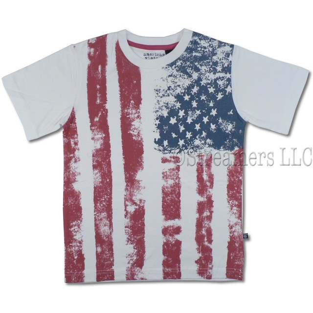 Awesome Vintage Flag Tee by American Vintage that Looks Weathered. Made of 100% Soft Cotton. Great for 4th of July Festivities or any day!  Available in sizes 8, 10 and 12 (see additional sizes in Toddler Boy and 4-7)
