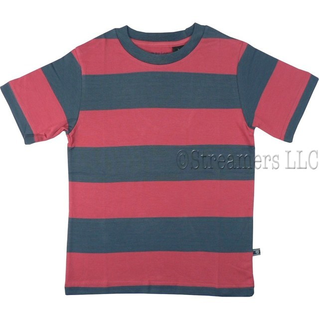 Tween Boy Rugby Stripe Tee by American Vintage in Navy and Red with Re-enforced Neckline. 100% Soft Cotton.  Available in Sizes 8, 10, 12 (More Sizes in Toddler and 4-7)