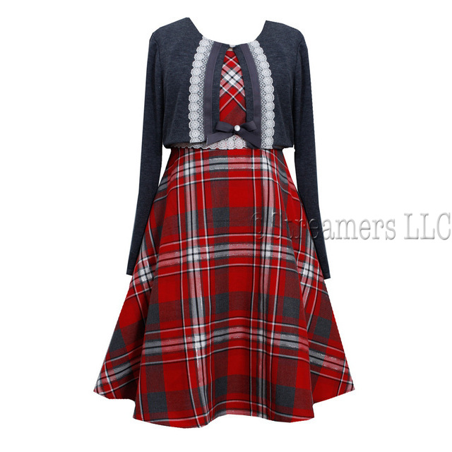 This adorable red plaid a-line dress has lace ribbon and bow at bodice, ties and zips at back and has a cute grey shrug to put over it.  Great for the holidays! Available in sizes 7, 8, 10, 12, 14 & 16. by Bonnie Jean