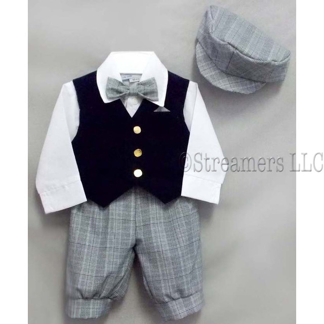 Great 5 piece knicker set with white cotton shirt, navy plaid knickers, bow tie and peaked cap and navy velvet vest.  So cute!  Available in sizes 6, 9, 12, 18 and 24 months.  Made in the USA!