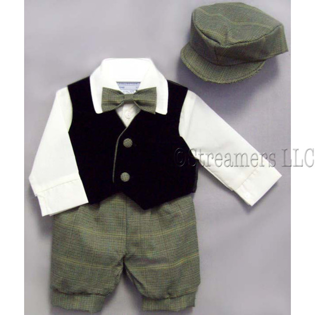Darling infant boy knicker set with ivory cotton shirt, green herringbone  knicker pants, hat and bow tie and navy vest with herringbone trim and buttons.  Adorable! Available in sizes 6, 9, 12, 18 and 24 months. Made in the USA!
