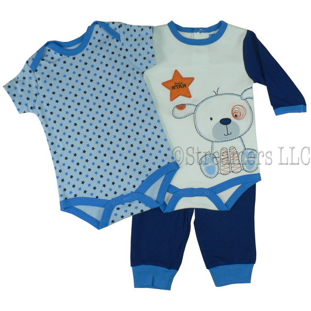 Cute Baby Boy 3 Piece Pant Set With One Ls Bodysuit Embroidery And Applique