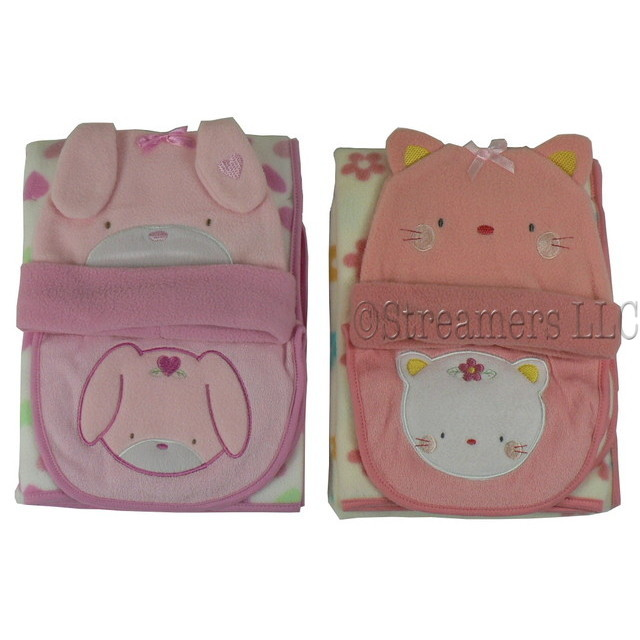 These Adorable Baby Girl Bundle Me Up Sets Include a Warm & Cozy Blanket and Hat Along with an Appliqued Bib.  Available in Peach Kitten and Pink Bunny.  So Cute!  Makes a Great Baby Gift!