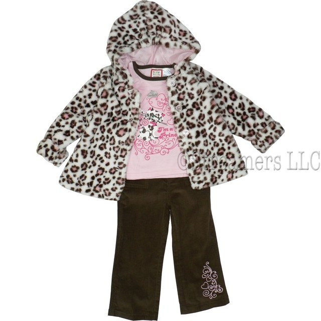 Adorable Toddler Girl Jacket Set with Leopard Print Swing Jacket in Brown and Pink Spots on Cream Background and Pink Buttons, Pink Long Sleeve Shirt with Brown Rolled Neckline and I