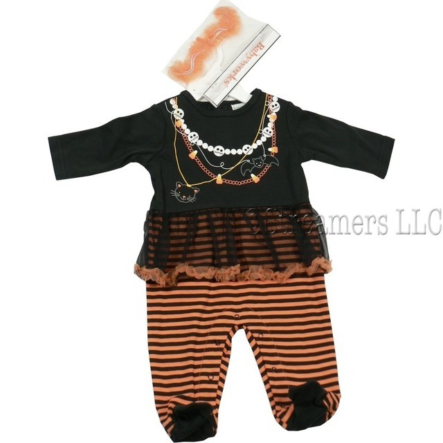 Adorable Baby Girl Halloween Costume by Babyworks with Necklace Transfer of Pearls and Faces, Candy Corn, a Bat and a Cat, Tulle Skirt in Black with Orange Trim, Black and Orange Striped Bottom.  Snaps in Front Buttons in Back.  One Piece. Orange Tulle Headband. Too Cute!  Available in Sizes 0/3, 3/6 and 6/9 months.