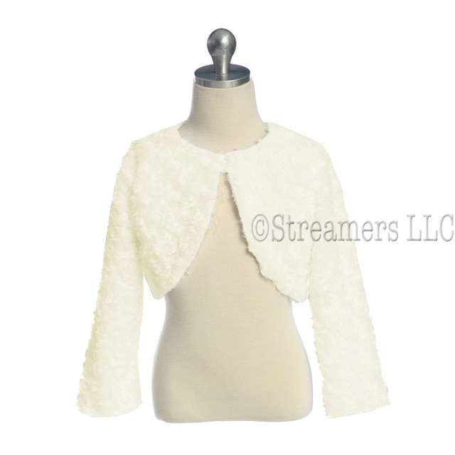 Adorable infant faux fur swirl bolero (lined) in ivory with a pearlescent button closure to go over holiday and special occasion dresses. Oh, so soft and made in the USA!  Available in sizes 12, 18 and 24 months.  See also in sizes 2, 4, 6 and 8