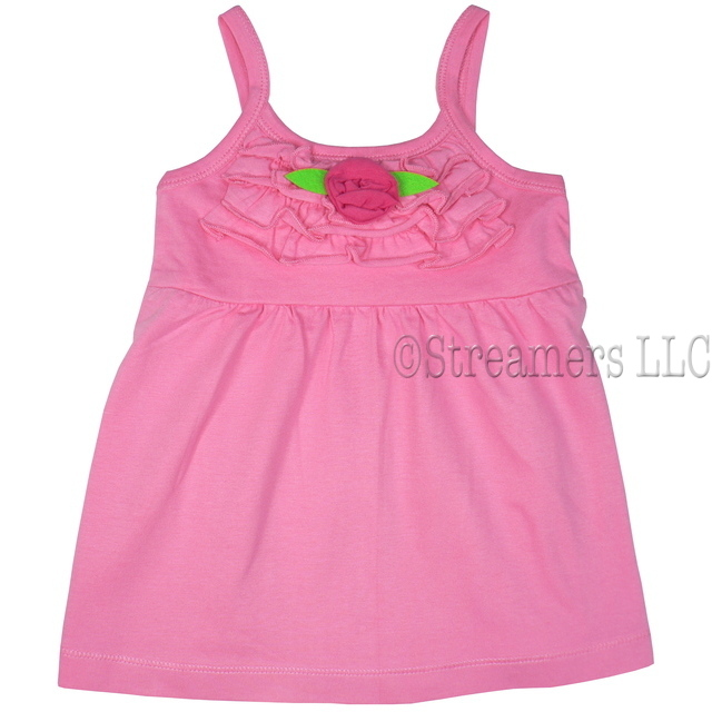 Cute Toddler Girl Tank Top with Ruffled Bodice and Flower Accent.  Available in Sizes 2, 3, 4 in Pink, Blue and Yellow.  This is Part of a Mix and Match Collection by Cheeky Smyle