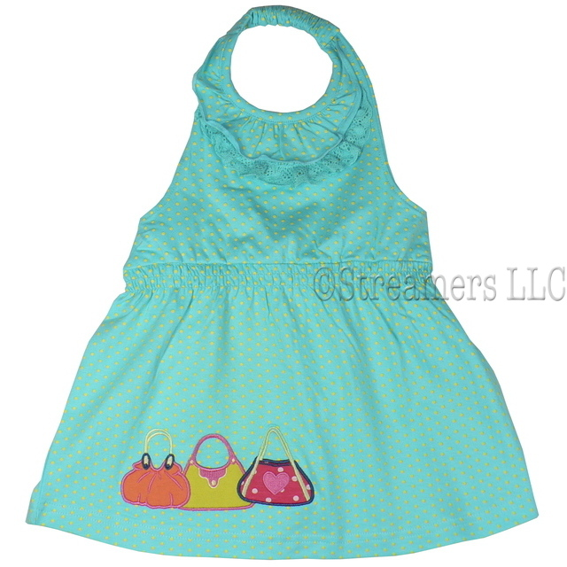 Adorable toddler girl halter top with a lace and ruffle neckline, shirred waist and purse appliques. Available in sizes 2, 3, 4 (Also in 5, 6, 7) in Blush Pink and Aqua.  This is part of a New Mix and Match Collection by Cheeky Smyle