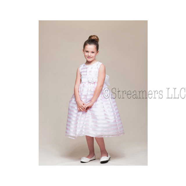 This beautiful ribbon stripe dress comes with pinned flower with pearl and rhinestone center attached to the sash that ties in back.  Makes a great flower girl dress!  Available in sizes 2T, 3T and 4T (Also available in size 5/6). Made in the USA by Crayon Kids