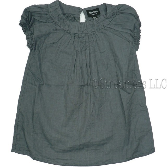 Cute Tween Girl Top in Dark Purple with Round Neckline, Keyhole Closure at Back, Dainty Tucks form Pleating on Front and Back, Elastic Sleeves. Light Cotton. Great Alone or Over Another Top!   by Filia & Filius Available in Sizes 7/8, 9/10, 11/12