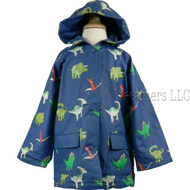 Toddler Boy Raincoats by Foxfire - Adorable Toddler Boy Rain Slicker in Blue with All-over Dinosaur Print.  Cotton Lined, Snap Front and Two Pockets, One with 3D Dino Patch.  A Fun Way to Stay Dry and Warm! Available in Sizes 2T, 3T and 4T