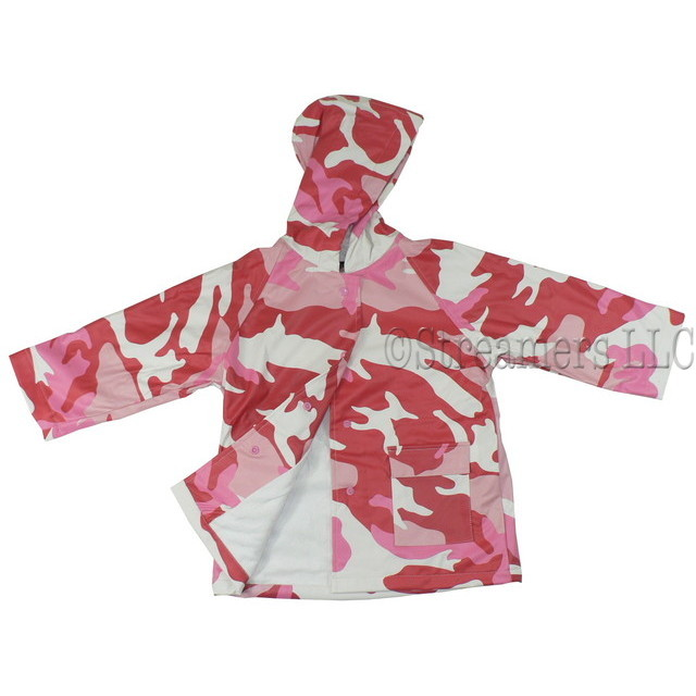 Toddler Girl Raincoats by Foxfire, A Rainy Day Never Looked so Good as with This Adorable Toddler Girl Raincoat in Pink and White Camo Print.  Cotton Lined, Snap Front and Two Pockets.  Soft and Durable!  Available in Sizes 3T and 4T.