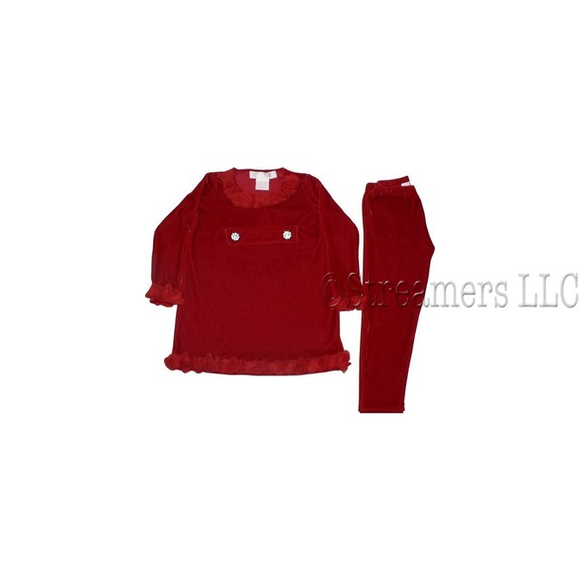 Adorable Toddler Girl Red Velour Legging Set with Long Velour Tunic with