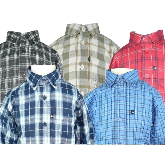 Toddler Boy Flannel Shirts - Toddler Boy Flannel Shirt by Gioberti with Button Down Collar and cuffs.  Pocket with Logo Tag.  Extra Buttons.  Available in Sizes 2, 3 and 4 in Black, Tan, Red, Navy and Lt. Blue Plaids.  Great for School Wear!