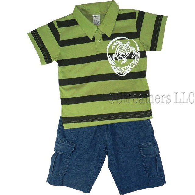 Boys Short Set featuring a Striped Polo Shirt with a Sea Turtle Screen Print and Pull-on Denim Shorts with 2 Side Pockets and 2 Cargo Pockets .  Available in Sizes 4, 5/6 and 7/8 (Also in Toddler Boy)