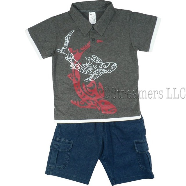 Boys Short Set featuring a Collared Polo Shirt with Shark Screen Print and Pull-on Denim Shorts with 2 Side Pockets and 2 Cargo Pockets .  Available in Sizes 4, 5/6, 7/8 (Also in Toddler Boy)