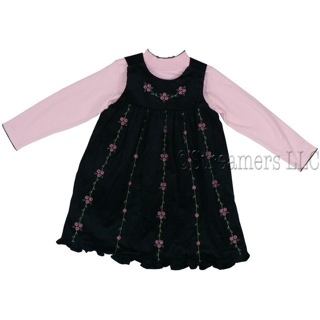 Girls Dress Sets  by Good Lad - Cute Corduroy Jumper with Delicate Embroidered Flowers and Covered Buttons at Shoulders.  Pink Mock Turtleneck Shirt with Navy Trim.  Available in Sizes 4, 5, 6 and 6X