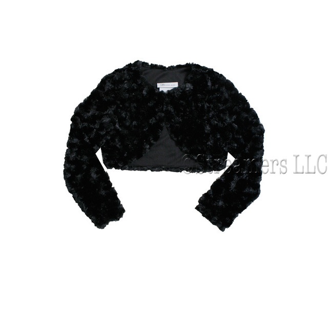Cute black faux fur long sleeved bolero jacket/shrug with lining, so  soft and fluffy!  Will look adorable over her holiday dresses. Available in sizes 2T, 3T, 4T.  See also in Infant, 4-6X and 8-14 by Bonnie Jean