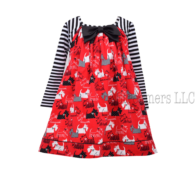 Cute fine wale corduroy scottie print float with striped knit sleeves and large bow, ties in back. Available in sizes 4, 5, 6 and 6X (see also in Toddler sizes) by Bonnie Jean