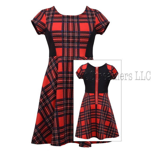 Plus girl short sleeve printed plaid skater dress with solid side inset and exposed zipper. Available in sizes 14 1/2, 16 1/2, 18 1/2 and 20 1/2 by Bonnie Jean.  Very cute!