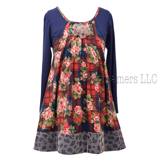 Cute long sleeve printed trapeze dress with raglan sleeves, pleated front and flower trim. Available in sizes 4, 5, 6, 6X