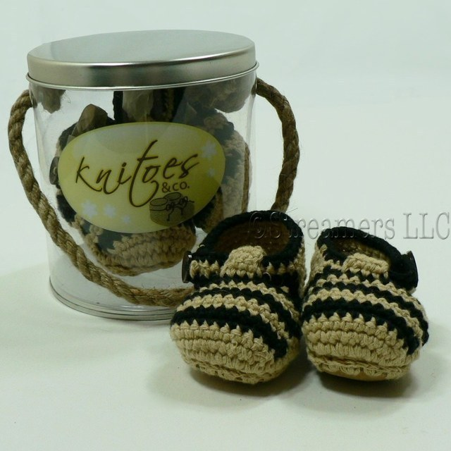 Baby Shoes by Knitoes, Adorable Knit Baby Sandals in Tan with Brown Stripes and Trim,  Button Closure and Suede Soles.  Comes in a Disply Pail with Rope Handle. Too Cute!  Available in sizes Newborn, 3-6 Months and 6-12 Months (Individually boxed to protect pail)  Makes a Great Shower Gift!