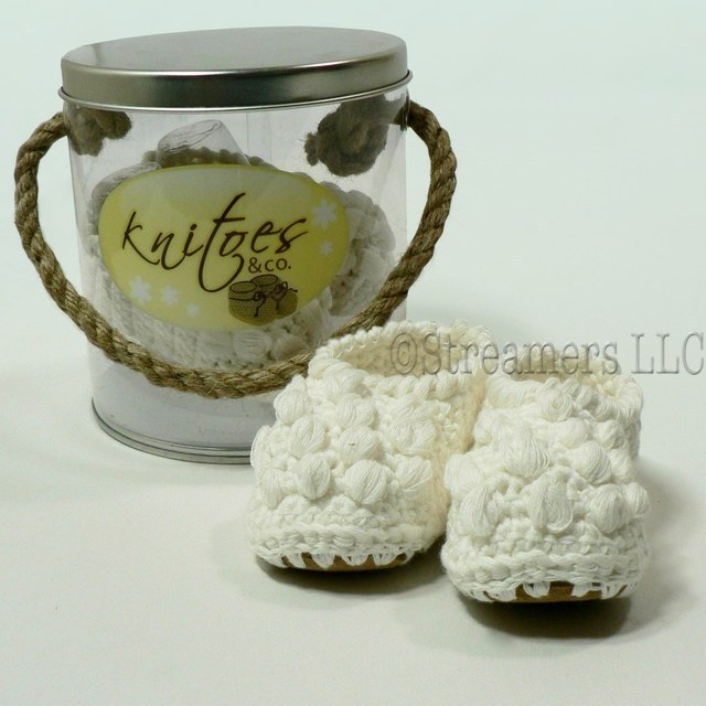Baby Booties by Knitoes, Adorable Knit Baby Slippers in Cream with Bobbles  and Suede Sole.  Comes in a Presentation Pail with Rope Handle. So Cute!  Great for Baby