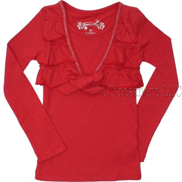 Toddler Girl Dress Tops with Ruffled Tiers Mock Shrug that Ties  in Front, Silver Thread Trim On V-Neck.  Great for the Holidays!  Available in Red, Black and Cream (Winter White) in Sizes 2T, 3T and 4T (NOTE:  Dream Star Tops Tend to Run Small)