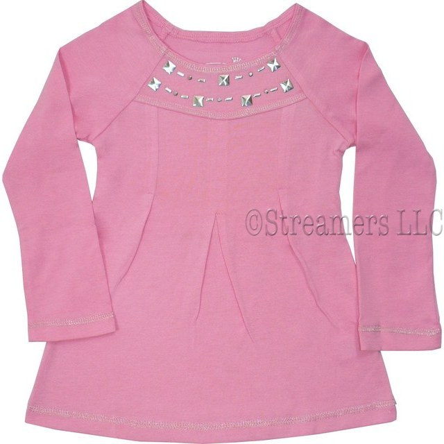 Adorable Toddler Girls Top with Silver Studding Around Neckline,Feminine Pleating in Front and Silver Threaded Trim on Neckline, Cuffs and Hem.  Too Cute!  Available in Sachet Pink and Cream (Winter White) in Sizes 2T, 3T and 4T (NOTE:  Dream Star Tops Tend to Run Small)