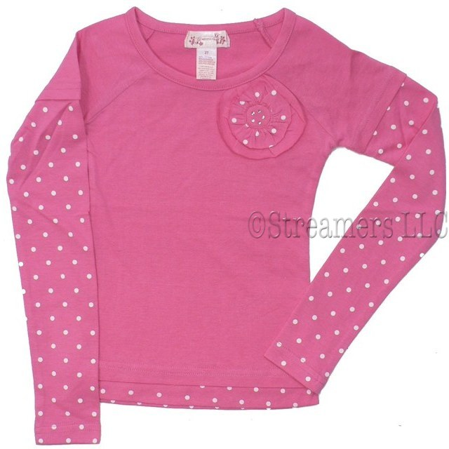 Cute Girls Long Sleeve Tops with 3D Flower with Polka Dots and Rhinestone Embellishment and Matching Polka Dot Sleeves and Hem.  Looks Like Two Tops but in One!  Available in Rose, Chocolate Brown and Cream (Winter White with Charcoal Grey Dots) in Sizes 2T, 3T and 4T.  NOTE:  Dream Star Tops Tend to Run Small