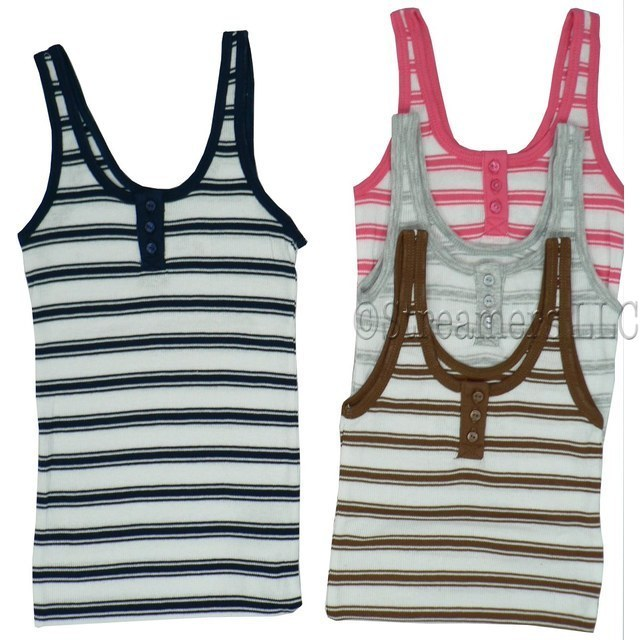 Girls Clothes size 7-16 - Cute Yarn-Dyed Ribbed Tank with Button Front, Solid Trim, Stripes on White.  Available in Navy, Pink, Brown and Heather Grey in sizes 7/8, 10/12, 14 and 16 NOTE: Dream Star Tops Tend to Run Small