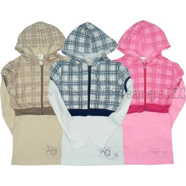 Girls Tops - Cute Hoodie Top for Girls Size 7-16 with Long Sleeved Tunic with Separate Short Hoodie Jacket in Plaid over Solid Colors.  Available in Tan/Brown, Navy/White and Pink/Fuchsia in Sizes 7/8, 10/12, 14 and 16.  (Note: Dream Star Tops Tend to Run Small - Order Next Size Up)