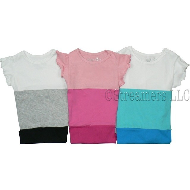 Girls Tops by Dream Star - Cute Girls Top in Sizes 4-6X in Color Block Style with Tie at Side.  Available in Aqua, Fuchsia and Grey Color Block in Sizes 4, 5, 6 and 6X.  Dream Star Tops Tend to Run Small, Order Next Size Up if Unsure.