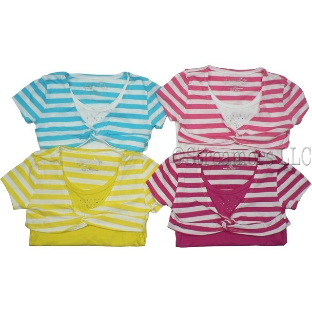Toddler Girl Clothing, Adorable Toddler Girl Two-Fer Top in Tank Style with Attached Knotted Striped Shrug.  Available in Aqua, Fuchsia, Hot Pink and Lemon in Sizes 2T, 3T and 4T.  NOTE: Dream Star Tops Tend to Run Small, Order Next Size Up if Unsure.