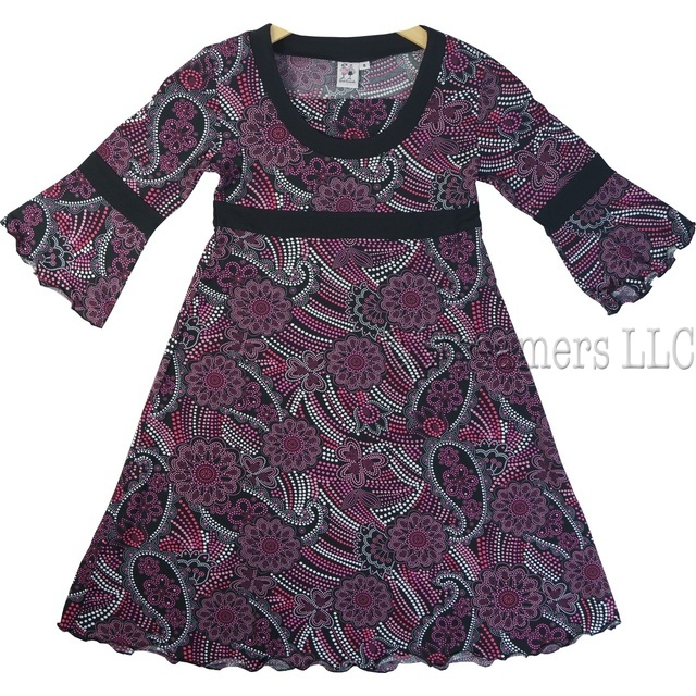 Girls 3/4 Sleeve Paisley Dot Dress in Pink, Black and White Paisley Flower Dot Print, Scoop Neck With Insert, Empire Waistband and Bell Sleeves With Lettuce Edge Trim and Hem.  Available in Sizes 8, 10, 12 and 14 by Anita G, Girlfriends