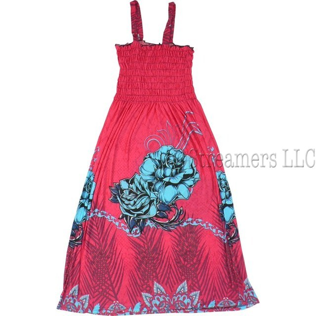 Bright Tween Girl Sundress with Smocked Top and Colorful Floral Pattern.  Cool and Comfy!  Available in Sizes Small (7/8), Med (9/10), Lg (11/12) and XL (13/14) by Ella