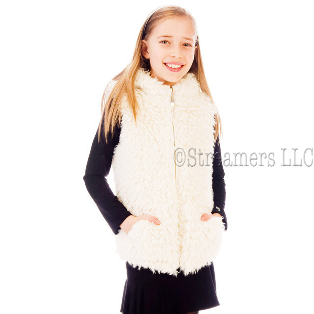 Exceptional ultra plush hooded vest has two front pockets, taping at the back of the neck and a lining that will keep her warm & cozy.  This adorable faux fur vest will elevate any outfit to fabulous!  Available in sizes 4, 5, 6 (see also in 7/8, 10/12, 14)