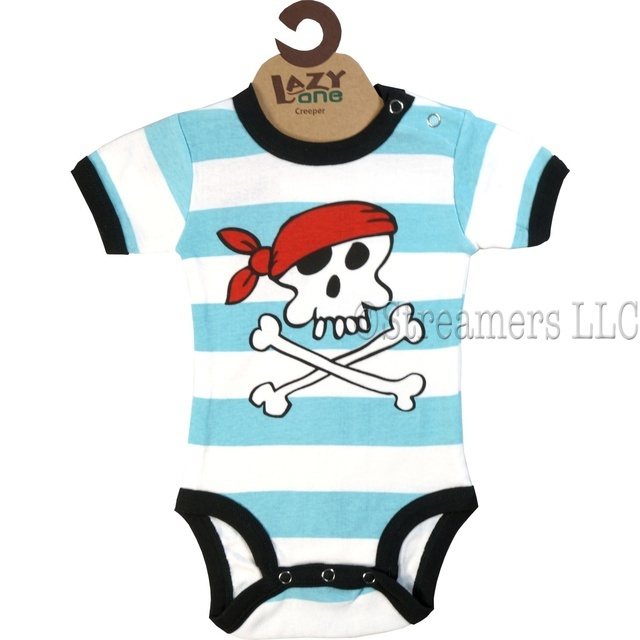 This adorable 100% cotton striped onesie has a pirate screen print that will make you say rrrreally cute!  Great for a Halloween costume. Available in sizes 6, 12 and 18 months (find matching socks in accessories) by Lazy One  **We also have girls pirate onesies
