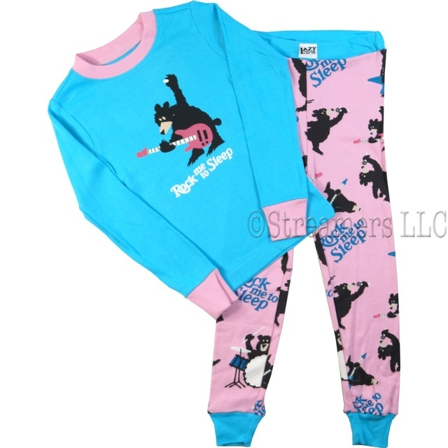These cute pajamas feature a guitar playing black bear with the words