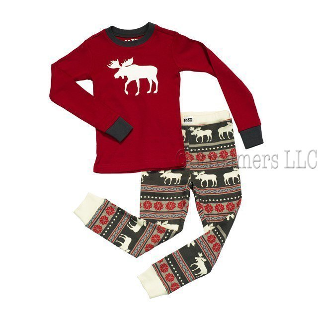 Lazy One Moose Fair Isle Toddler Pajamas