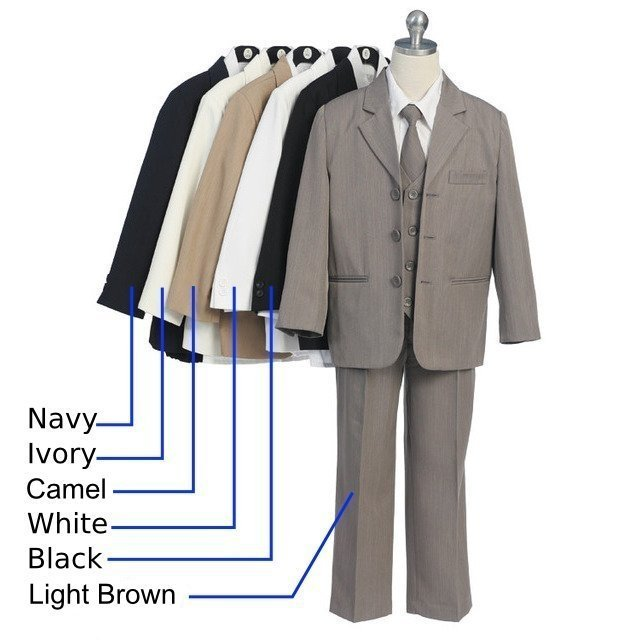 Fabulous 5 pc  Boys Suit for Special Occasions and Holidays that includes a Lined, 3-Button Jacket with Inside Pocket, Lined Vest, Long Sleeve White Collared Shirt, Tie and Pull-On Pants. Available in Black and Tan in Sizes 5, 6, 7.  **(See Size Chart to Aid in Ordering Correct Size). Other Colors and Sizes Available (up to size 20 at additional cost), Contact Us. (If not in stock, may take 7-10 days delivery time).