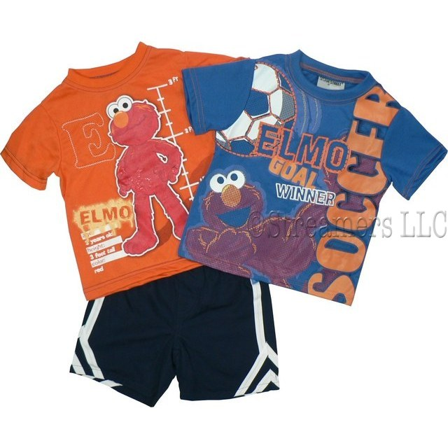 Sesame Street Infant Boy Clothes - Infant Boy 3 Piece Short Set with Orange Elmo Tee Shirt with Ribbed Neckline, and Stitched E, Blue Elmo Tee with Ribbed Neckline and Textured Soccer Transfer.  Navy Pull-on Sport Shorts (100% Polyester) with White Stripes.  Too Cute!  Available in Sizes 12, 18 and 24 Months. Sesame Street Clothing by Nannette