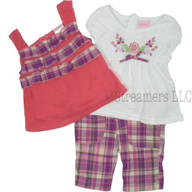 Infant Girl Clothes by Nannette - Cute Infant Girl Capri Set with Pretty Coral Gauze Top with Purple Plaid Ruffles, Square Neck, Button Closure, White Peasant Top with Cinched Bodice, Flower Embroidery, Plaid Bow and Button Closure.  Plaid Capris with 4 Pockets and Adjustable Waist.  Very Cute! Available in Sizes 12, 18 and 24 Months.