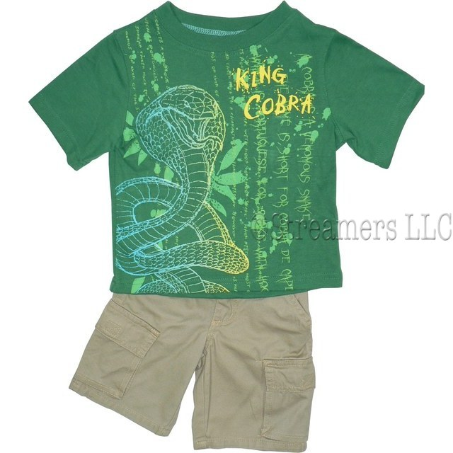 Toddler Boy Clothes - Nannette Brand Boyz Wear Toddler Boy Two Piece Short Set with King Cobra Transfer on Green Tee with Ribbed Neckline.  Khaki Short with Cargo Pockets, Elastic Back and Belt Loops.  Striking Screen Print!  Available in Sizes 2T, 3T and 4T