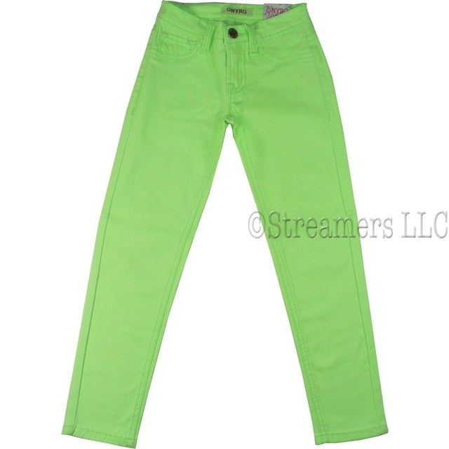 Tween Girls Colored Skinny Jeans With Belt Loops, Faux Front Pockets and Two Back Pockets in Vibrant Colors. Add Some Color to her Wardrobe! In Super Soft Cotton. Available in Sizes 7/8, 9/10, 11/12 and 13/14 in Lilac, Neon Green, Neon Pink and Tangerine