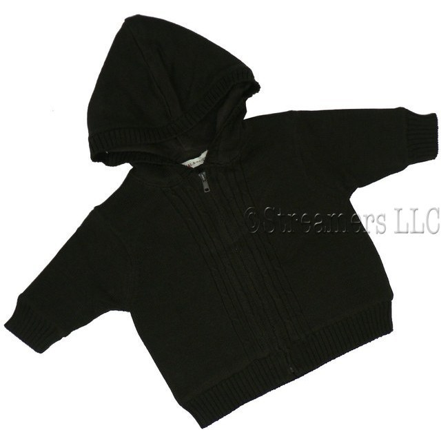Baby Boy Clothes - Lined Ribbed Knit Sweater made of 100% Cotton and Micro-Fleece Lining.  Dark Chocolate Brown. Zipper Closure.  Like a Jacket. Very Soft and Stylish!  Available in sizes NB, 3, 6, and 9 months by Oatmeal & Raisin