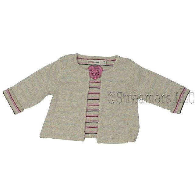 Baby Girl Sweaters - Darling Yarn Dyed Striped Cardigan in Natural Color with Pink, Brown and Maroon Striped Cuffs and Lining.  Made of 100% Cotton.  Matches our Maroon Leggings and Brown Rumba Pants!   Available in Sizes 3, 6, 9, 12, 18 and 24 months Oatmeal & Raisin Brand by Bon Bebe